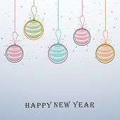 Happy New Year celebration background with colorful hanging balls on stylish background.
