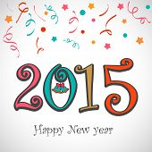 Happy New Year 2015 celebration concept with colorful text and bell on ribbons decorated shiny grey background.