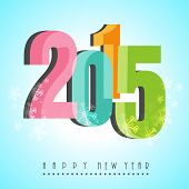 Happy New year 2015 celebration background with colorful glossy text decorated with snowflakes on blue background.