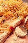 Dry pasta with flour