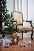 Christmas tree, decorations and chair