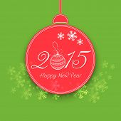 Beautiful Christmas ball with stylish text on snowflakes decorated green background for Happy New Year celebrations.