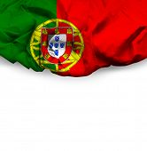 Portugal waving flag on white background
