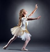 image of ballerina  - Image of lovely little ballerina dancing at camera - JPG