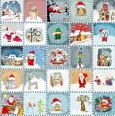 Advent Calendar cards  seamless pattern