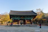 Geumsansa Temple complex in Gimje, South Korea. This building of this temple started 600 years ago and is a major tourist attraction in South Korea.
