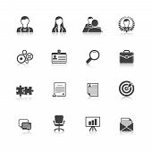 Human resources black icons set