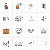 Elections icons set flat line