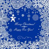 Greeting xmas card with paper snowflakes. Raster copy