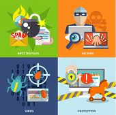 foto of hack  - Hacker flat icons set with infected files hacking virus protection isolated vector illustration - JPG