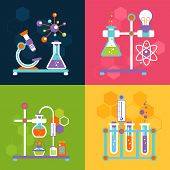 stock photo of reaction  - Chemistry decorative flat icons set with lab test and research equipment isolated vector illustration - JPG