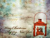 Grunge, retro Christmas background with copy space