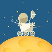 Planet Rover On The Moon,vector Illustration