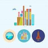Set Icons With   Colored Wall Clock, Modern Buildings ,rocket, Vector Illustration