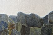 Concrete Texture With Stone Wall Background