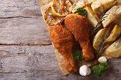 Chicken Drumsticks In Breadcrumbs With Potatoes, Top View