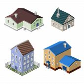 picture of isometric  - Residential house isometric buildings real estate decorative icons set isolated vector illustration - JPG