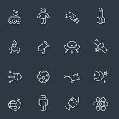 Space icons, thin line design, dark background