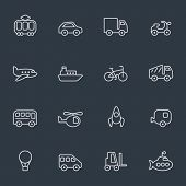 Transport icons, thin line design, dark background