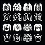 Ugly Christmas sweater on jumper white icons set