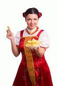 German/bavarian Woman With Potato Chips