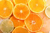stock photo of sweetie  - Oranges and sweetie close up - JPG
