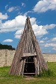 Traditional Estonian tent - koda-in Narva citadel Estonia