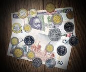 Kenya Money Shilling, Banknote And Coins.