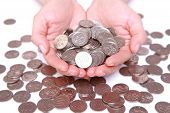 stock photo of japanese coin  - many Japanese 100 yen coins with hands - JPG