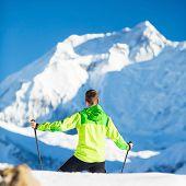 Man Hiking Climbing Winter Mountains In Nepal