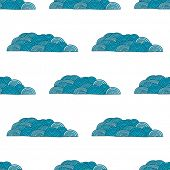 Seamless abstract wave and clouds  hand drawn pattern. Vector pattern in blue colors.