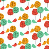 Seamless abstract trees and birds pattern. Bright vector illustration for design of gift packs, wrap,  patterns fabric, wallpaper, web sites and other.