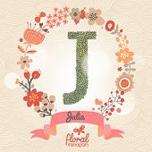 Vintage floral monogram made of green leafs and bright flowers in vector. Stylish letter J can be used for posters, cards, invitations, blogs, websites, backgrounds and any other stylish designs