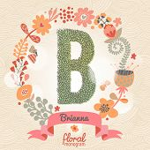Vintage floral monogram made of green leafs and bright flowers in vector. Stylish letter B can be used for posters, cards, invitations, blogs, websites, backgrounds and any other stylish designs