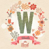 Vintage floral monogram made of green leafs and bright flowers in vector. Stylish letter W can be used for posters, cards, invitations, blogs, websites, backgrounds and any other stylish designs