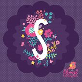Vintage floral hand drawn monogram made of flowers, butterflies and birds in vector. Letter
