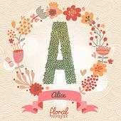 Vintage floral monogram made of green leafs and bright flowers in vector. Stylish letter A can be used for posters, cards, invitations, blogs, websites, backgrounds and any other stylish designs