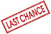 Last Chance Red Square Stamp Isolated On White Background