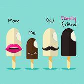 Ice Cream Family In Flat Colors Design.