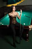 ������, ������: sexy girl in corset plays billiards