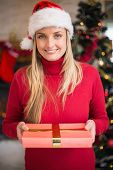 Pretty woman in santa hat smiling and holding a gift at home in the living room