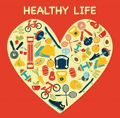 Healthy Lifestyle Background In Heart Shape - Illustration