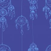 stock photo of dream-catcher  - Seamless vector illustration with dream catchers - JPG