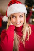 Portrait of pretty woman in santa hat smiling at home in the living room
