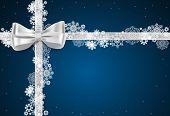 Christmas background. Gift bow and Shiny ribbon. Vector illustration.