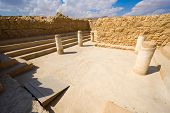 stock photo of masada  - The synagogue on top of the rock Masada in Israel - JPG