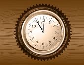 foto of analogy  - Vector analog clock on a brown wooden background - JPG