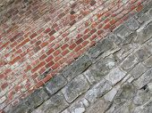 stock photo of oblique  - obliquely taken photo of the wall made of red and gray bricks - JPG