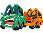 picture of rear-end  - Mascot Illustration of a Pair of Cars in a Rear End Collision - JPG
