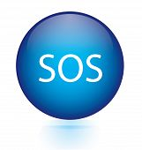 foto of sos  - SOS blue circular button  on white background - JPG
